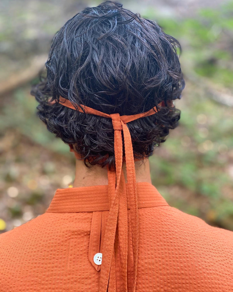 Japanese Cotton Tonal Seersucker Burnt Orange (Lightweight)