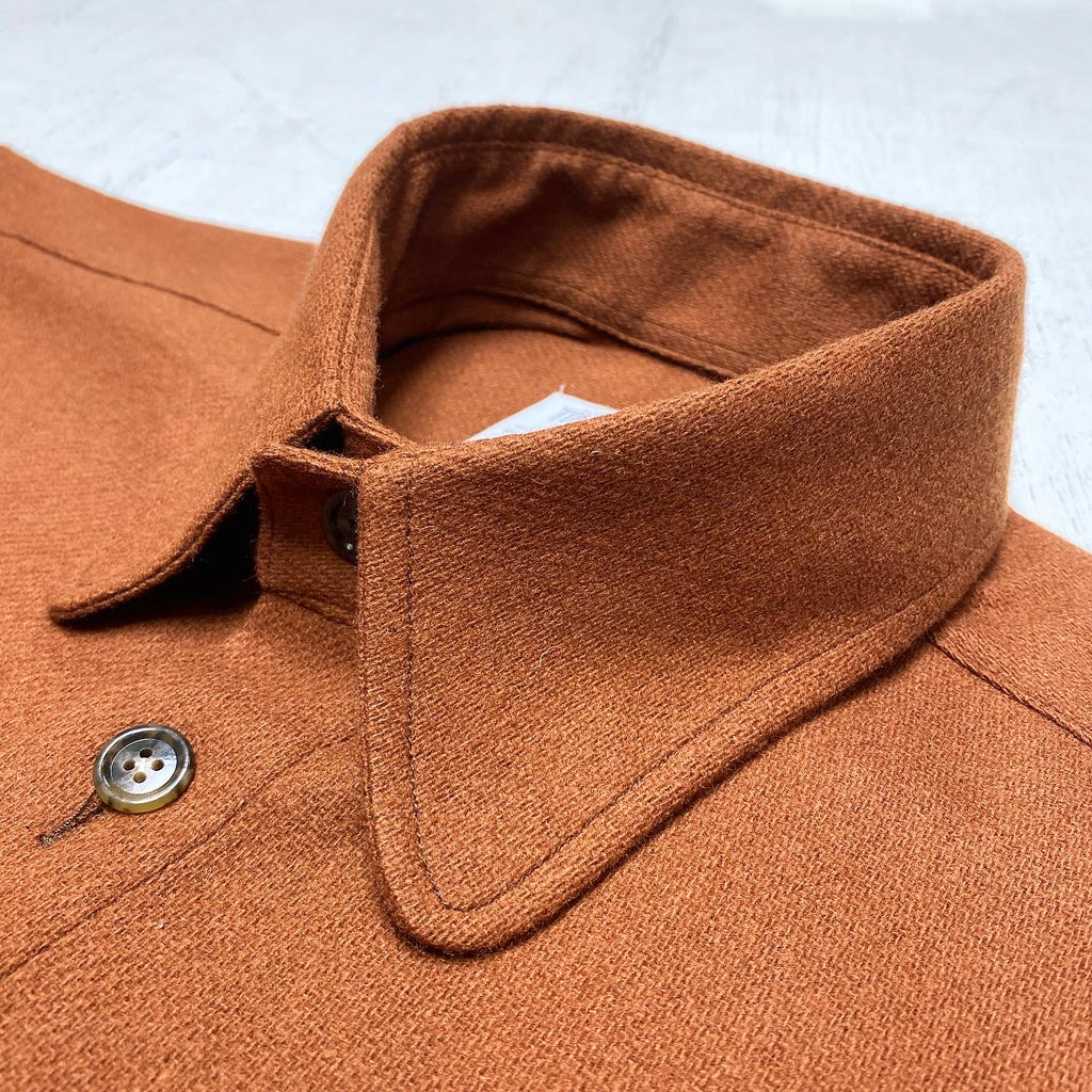 Wool Flannel Saddle Pocket with Rounded Collar