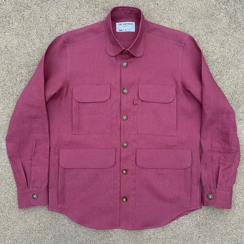 Raspberry Nantucket Linen Chore Shacket
