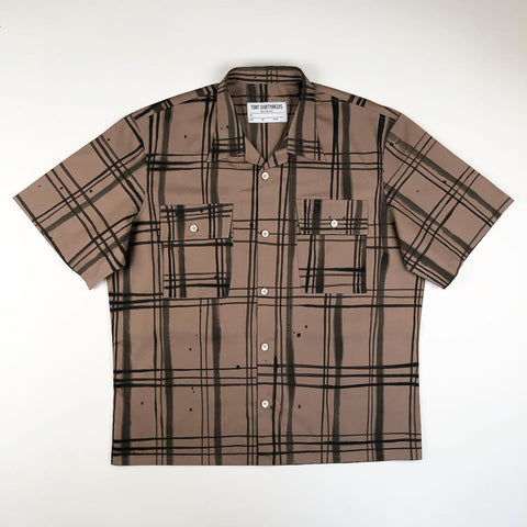 Hand Painted Brush Stroke Plaid Camp Shirt (One of One)