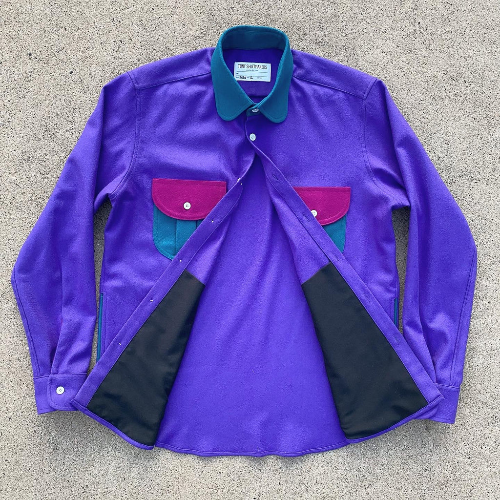 Retro Wool Flannel Shacket Lupine/ Ocean Teal/ Fuchsia