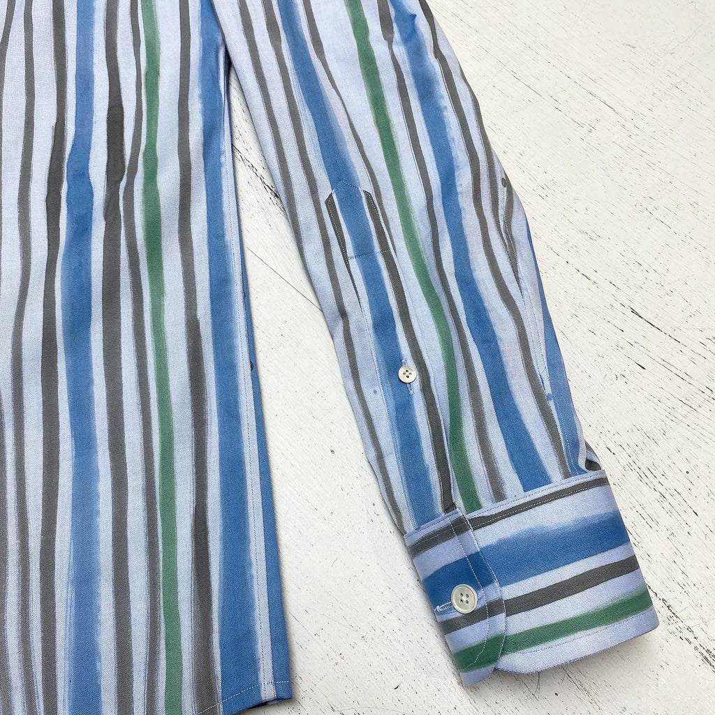 Hand Painted Vintage Thick and Thin Stripe on Cotton Pinpoint Oxford (1/1)