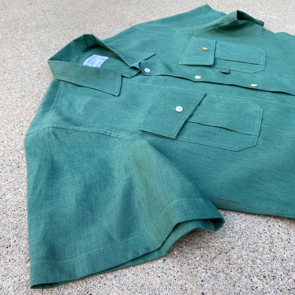 Italian Linen Viridian Green Fly Fish & Hike Camp Shirt