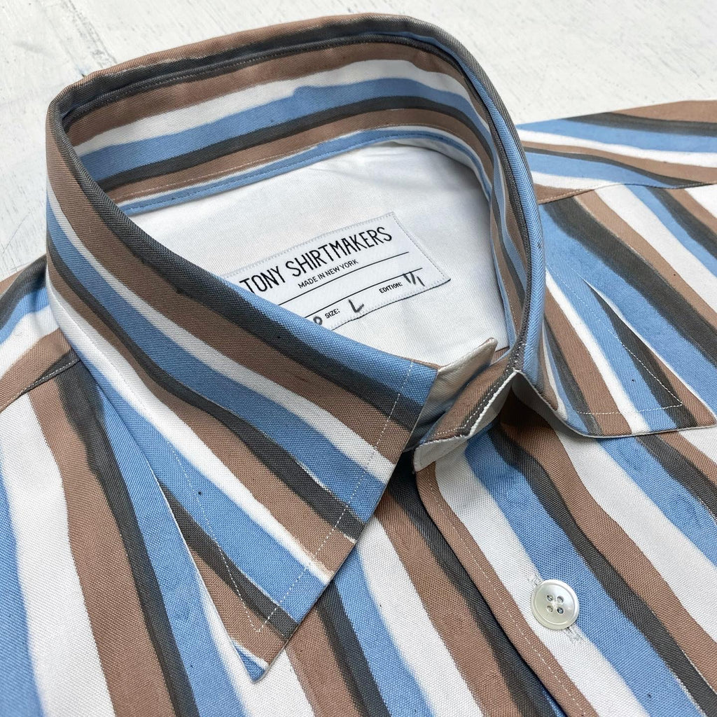 Hand Painted Vintage Awning Stripe on Cotton Pinpoint Oxford (1/1)