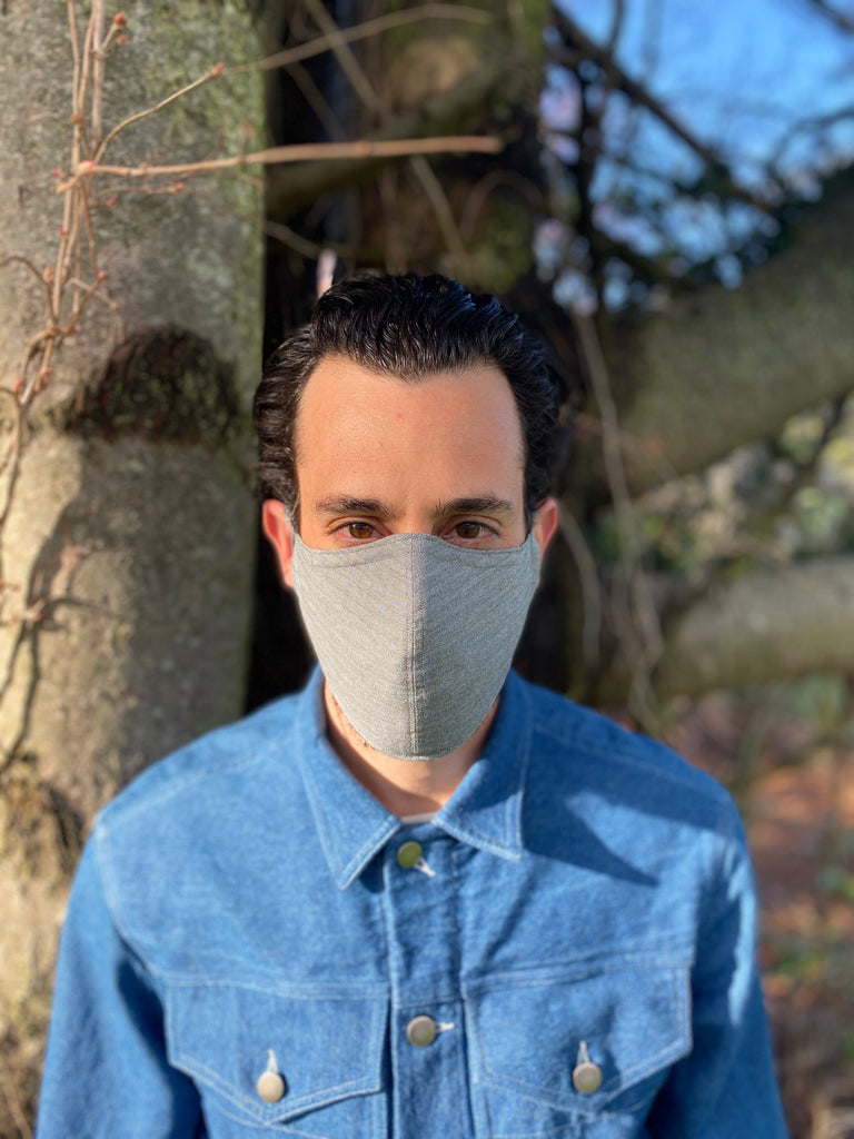 Japanese Flax Herringbone Face Mask Grey (Lightweight)