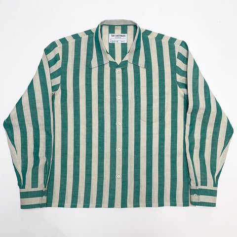 Hunter Green and Oatmeal Awning Stripe Long Sleeve Camp Shirt