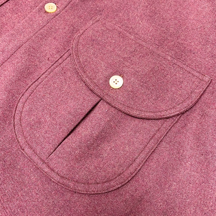 Marled Wine Cotton Flannel Shacket with Rounded Collar and Double Flap Pockets