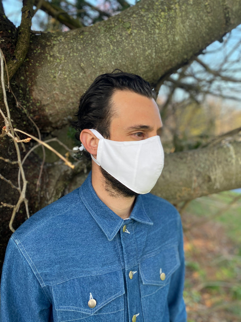 Japanese White Pinpoint Oxford Face Mask