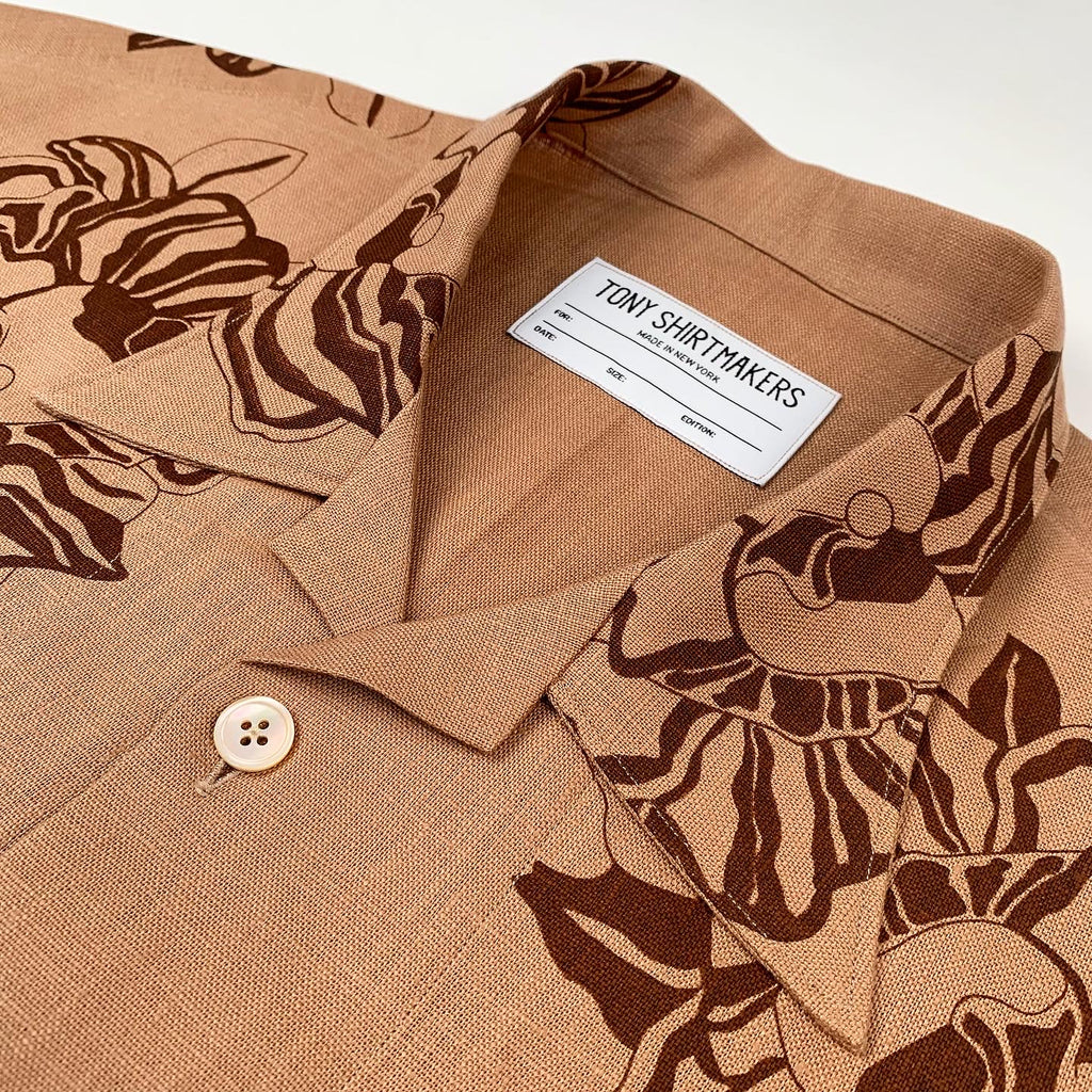 Coffee Linen with Hand Printed Tonal Floral