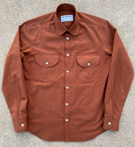 Burnt Sienna Tonal Seersucker Desert Shacket