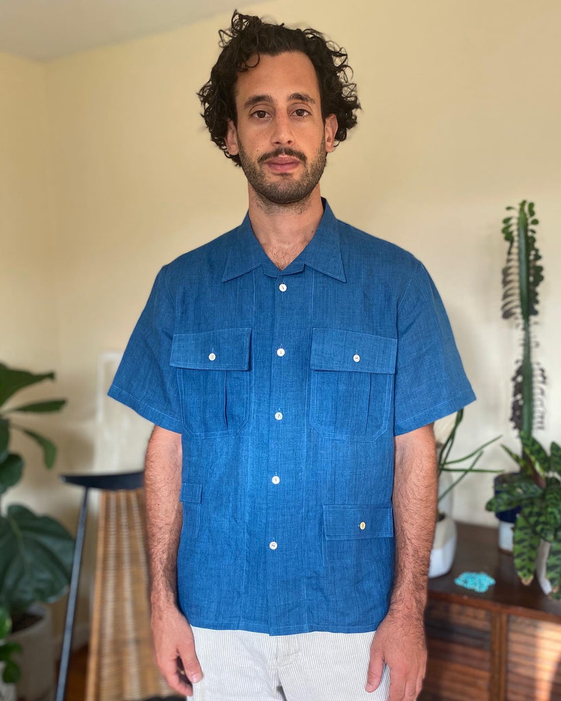 Fermented Indigo Linen Fly Fish Camp Shirt