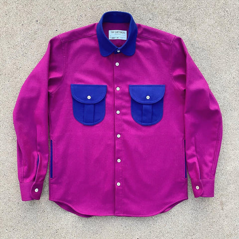 (New) Retro Wool Flannel Shacket Fuchsia Dark Eyes