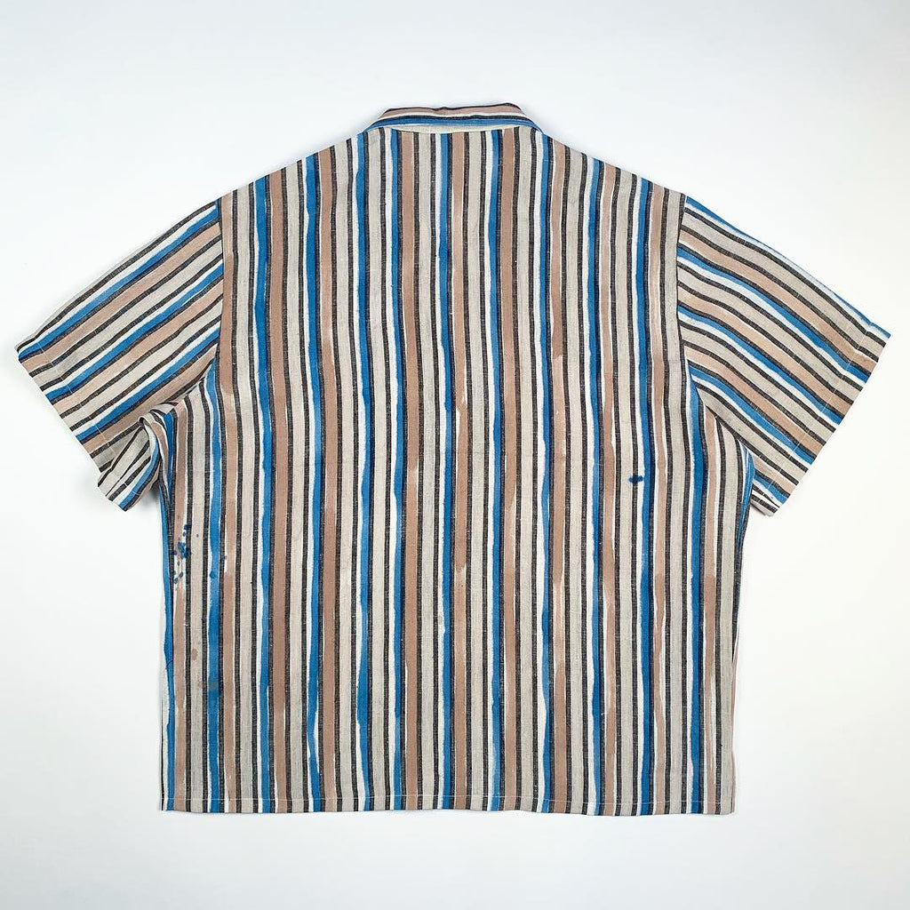 Hand Painted Brush Stroke Stripe Camp Shirt