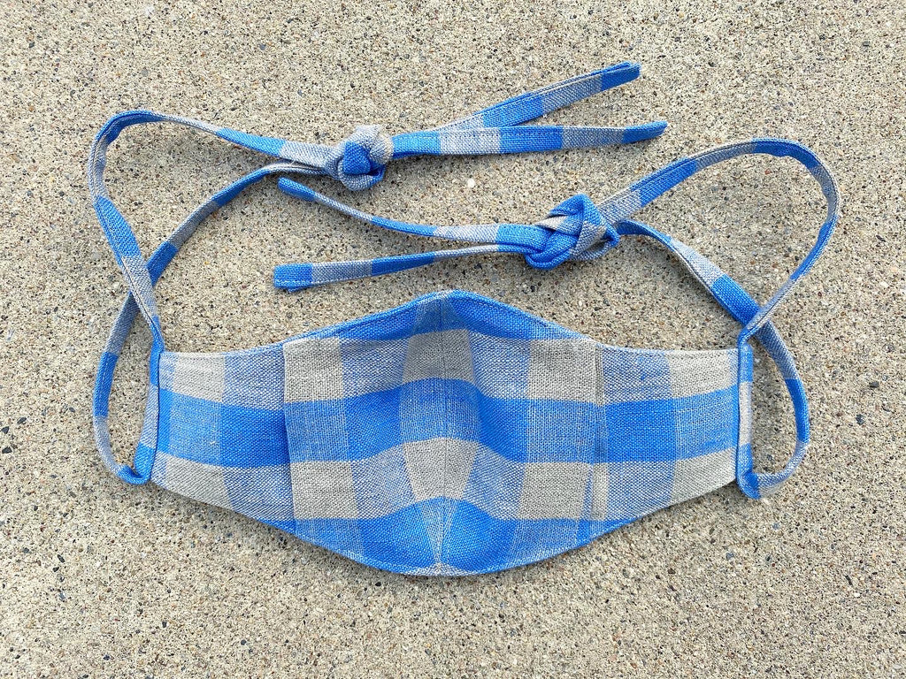 Italian Linen Face Mask Periwinkle Picnic (midweight)