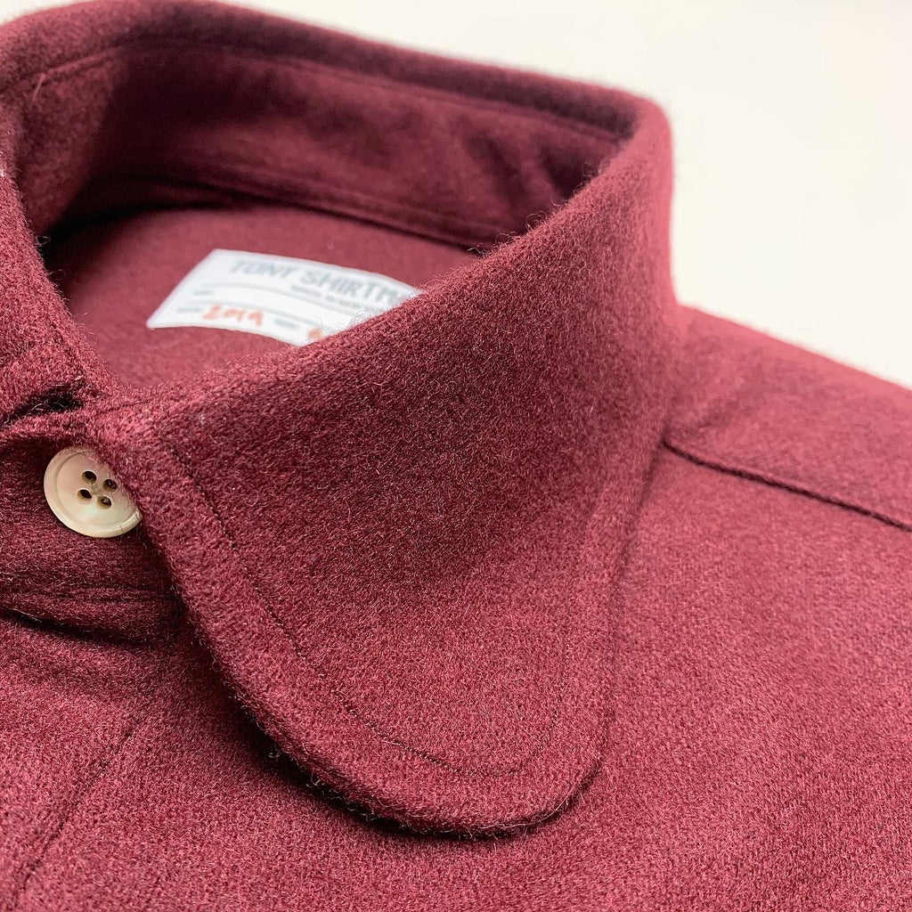 Deep Maroon Wool Flannel Shacket with Rounded Collar and Double Flap Pockets
