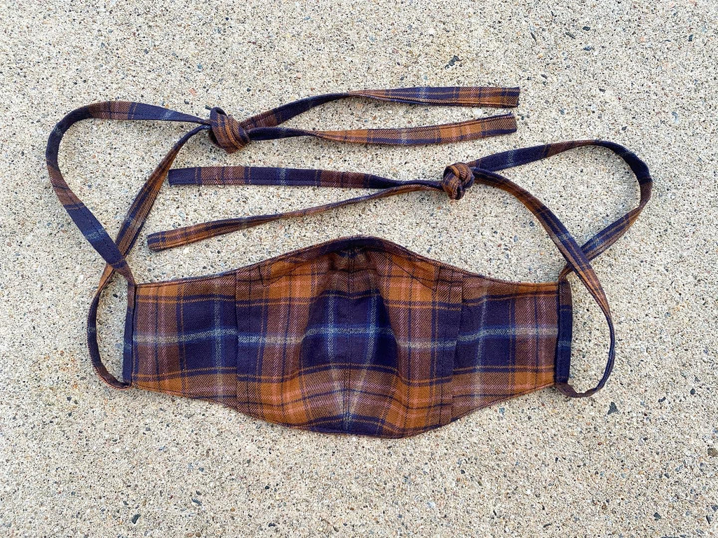 Japanese Cotton Flannel Face Mask Plum and Rust (Lightweight)