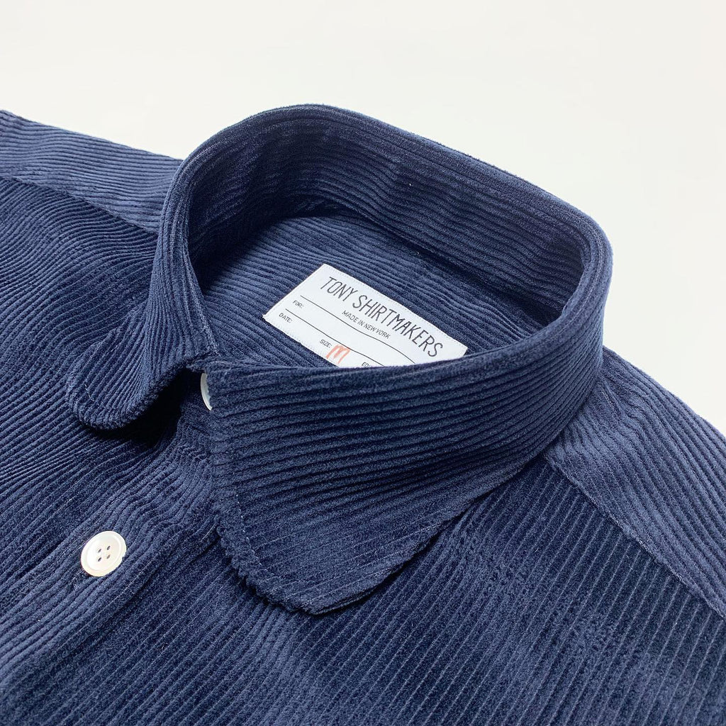 Corduroy Deep Navy with Rounded Collar and Flap Pocket