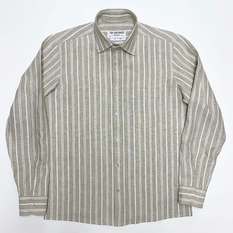 (Restock) Oatmeal and Cream Linen Stripe Long Sleeve