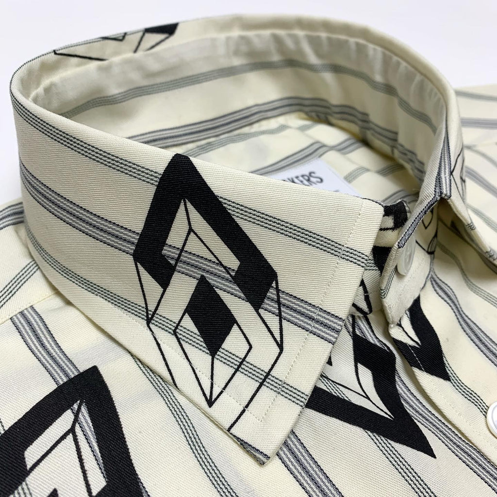 Geometric Print on Vintage Stripe Shirt (One-Of-One)