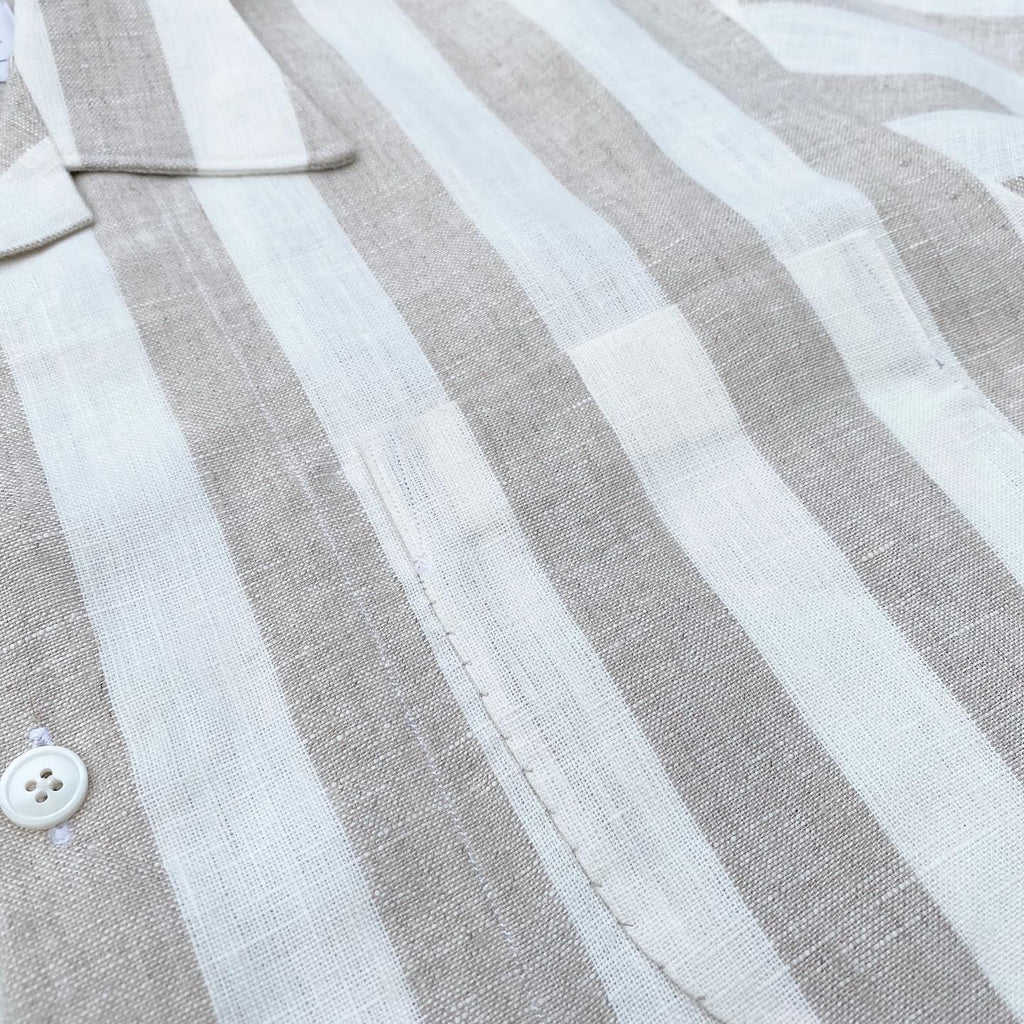 Oatmeal and White Coastal Stripe Camp Shirt