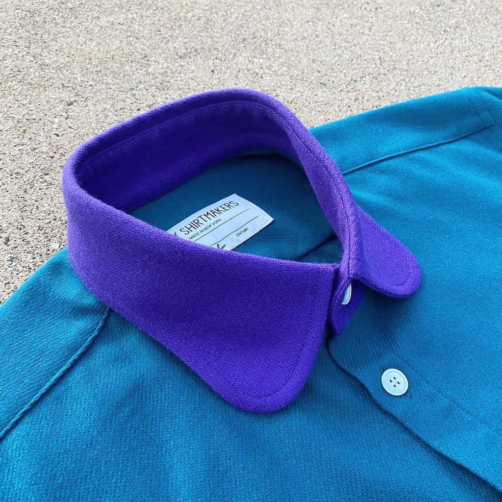 (New) Retro Wool Flannel Shacket Ocean Teal and Lupine