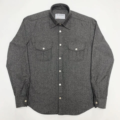 Charcoal Wool Flannel Double Flap Pockets