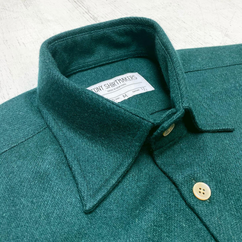 Deep Forest Green Wool Flannel with Classic Collar and Asymmetrical Pockets