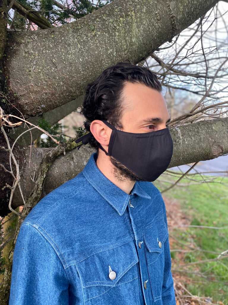 Japanese Black Oxford Face Mask