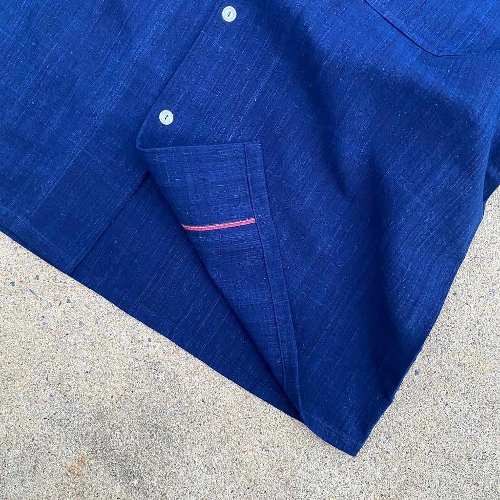 Fermented Indigo Khadi Denim Camp Shirt