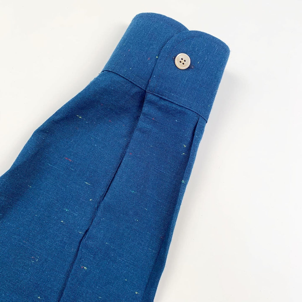 Indigo Dye Rounded Collar Speckled Chambray (One of One)