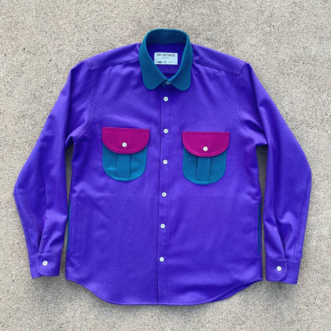 (New) Retro Wool Flannel Shacket Lupine/ Ocean Teal/ Fuchsia
