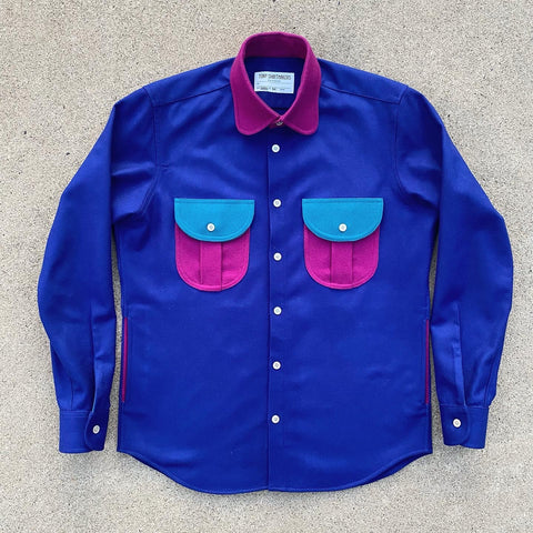 (New) Retro Wool Flannel Shacket Deep Cobalt/ Ocean Teal/ Fuchsia