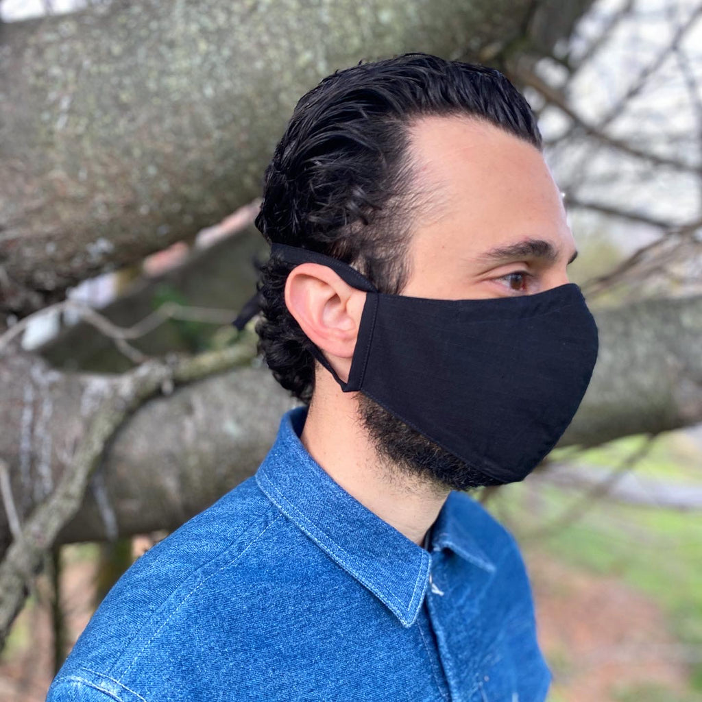 American Rip Stop Black Cotton Face Mask