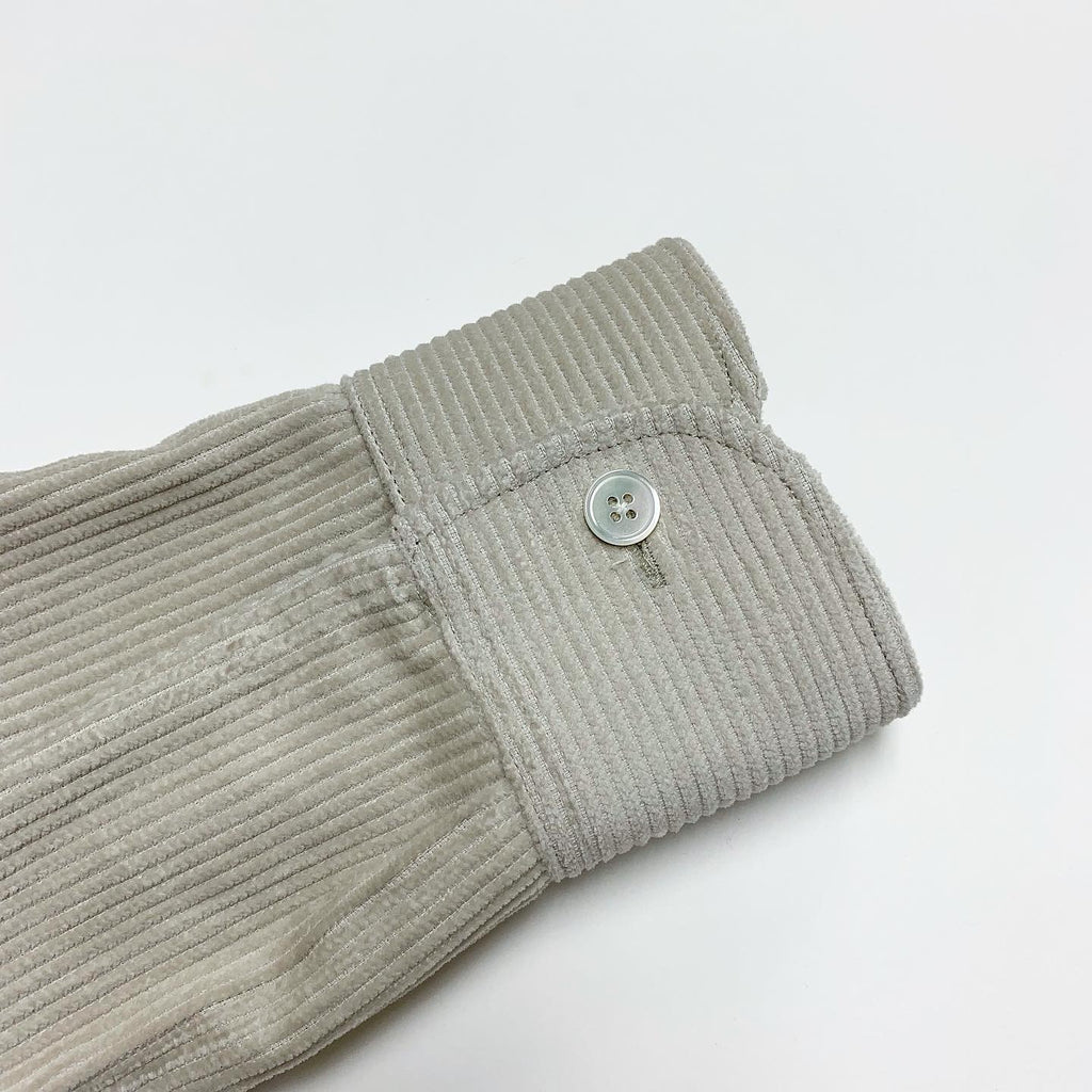 Corduroy Stone with Rounded Collar and Flap Pocket