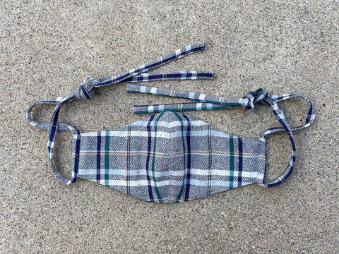 Japanese Donegal Plaid Face Mask Lt. Grey