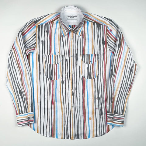 Hand Painted Multi Color Brush Strokes on Cotton Oxford (One-of-One)