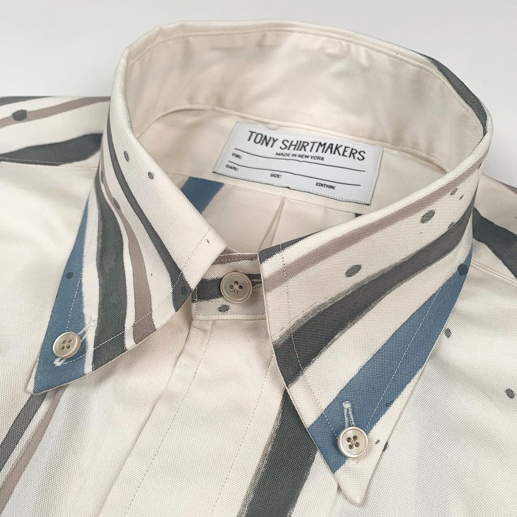 Hand Painted Brush Strokes on Off White Pinpoint Oxford (One-of-One)