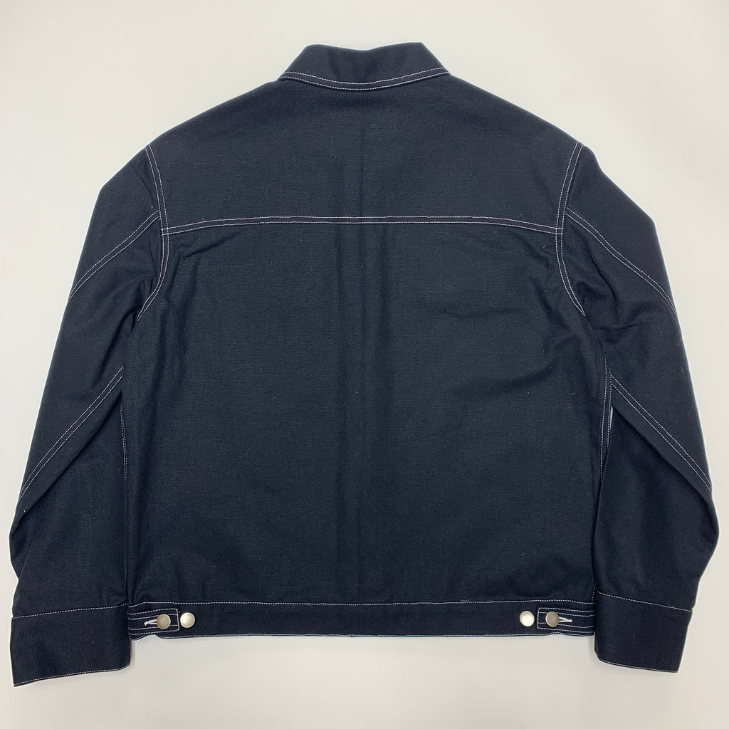 Black Trucker Jacket with White Contrast 12oz American Duck