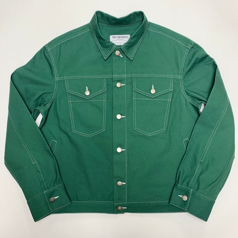 Hunter Green Trucker Jacket with White Contrast 12oz American Duck