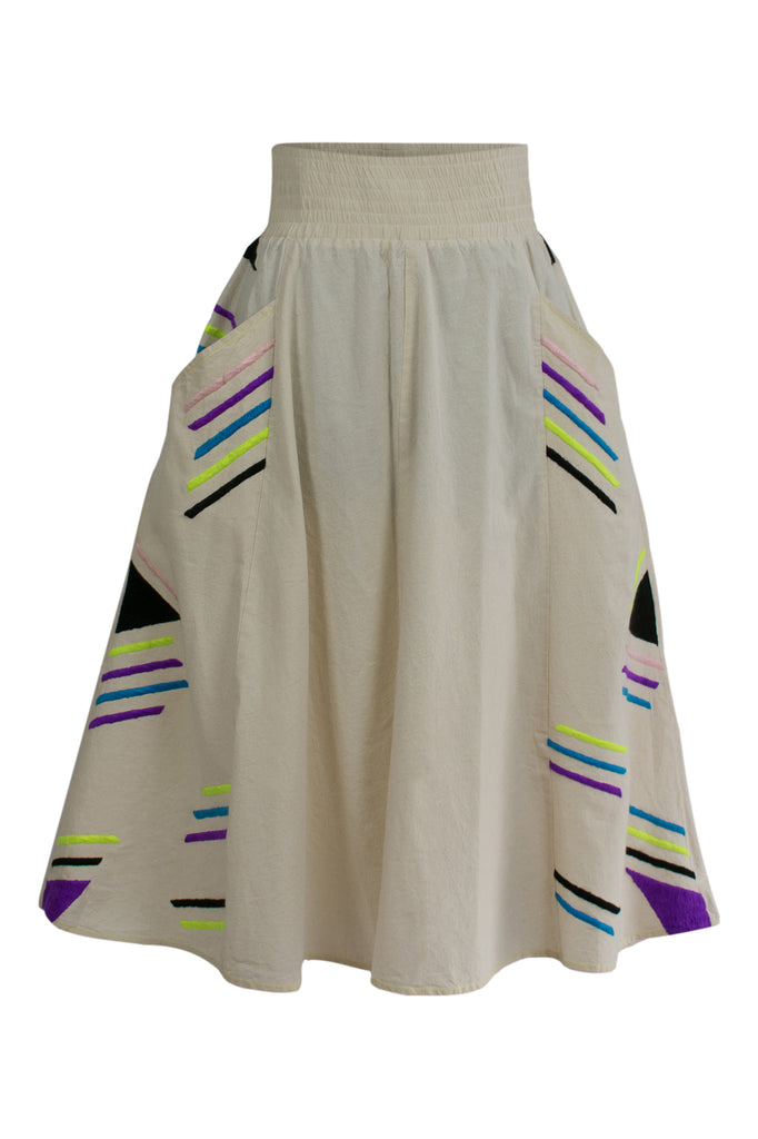 Hand Embroidered A-Line Midi Skirt Geometric Pattern