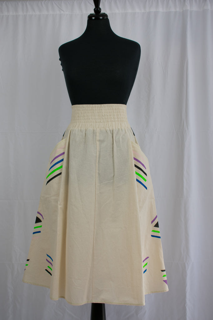 A-Line Midi Skirt Geometric Pattern {sample}