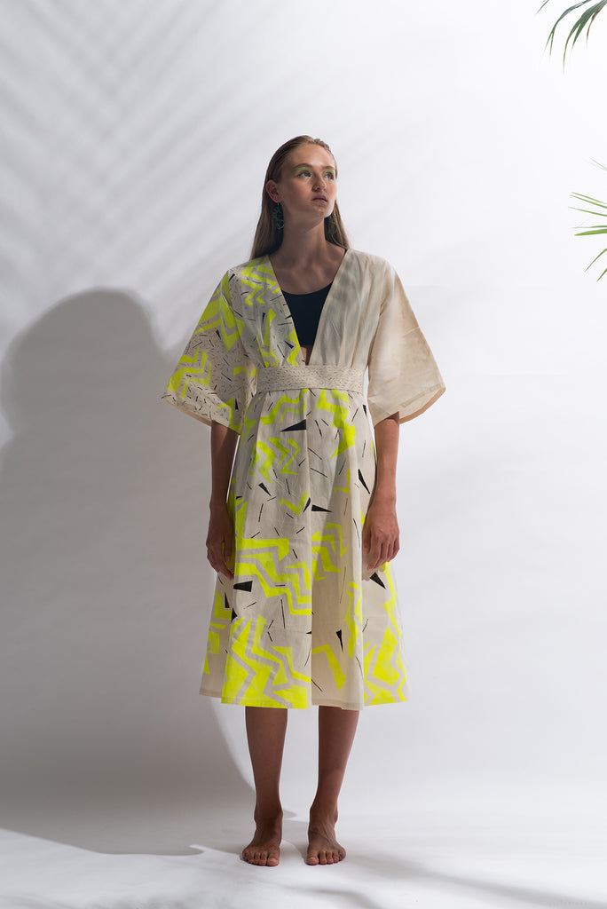 Kimono Style Geometric Thunder Pattern Dress {yellow}