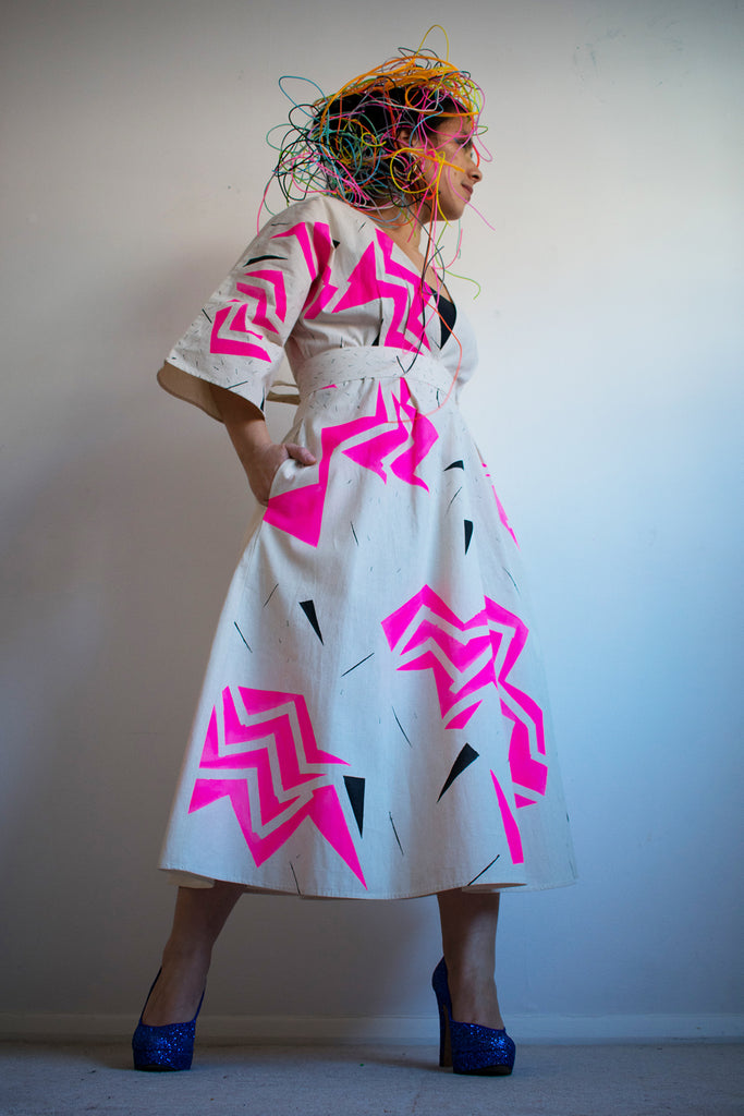 Kimono Style Geometric Thunder Pattern Dress {pink}