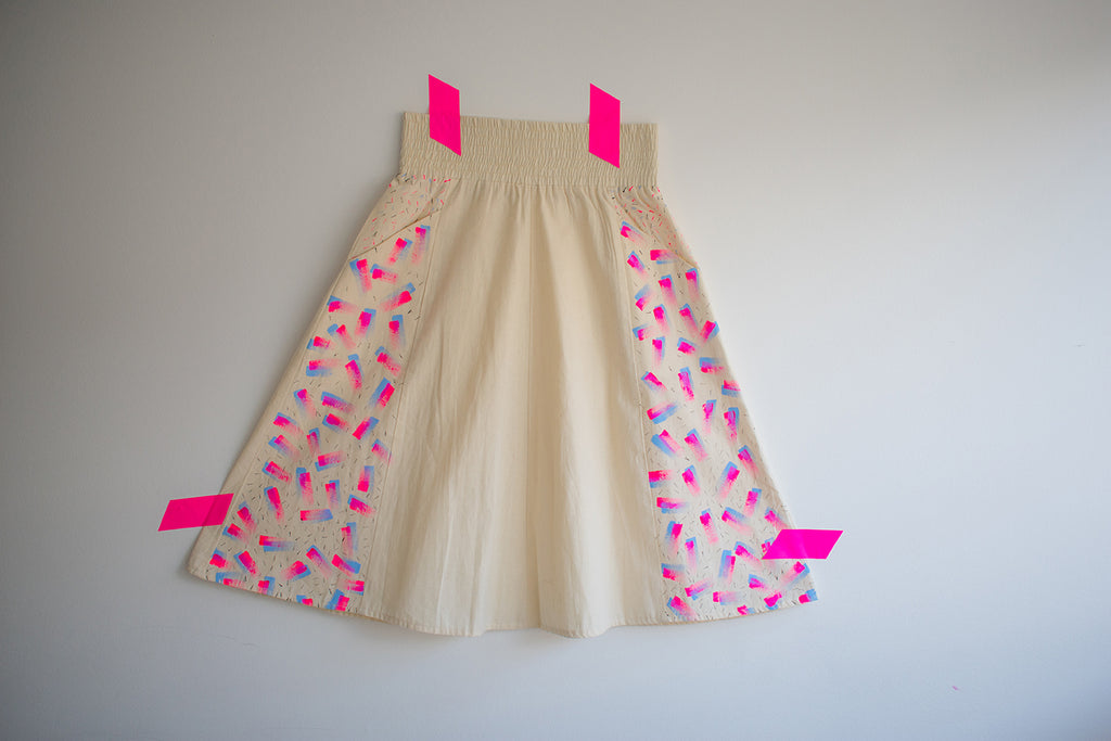 A-Line Midi Skirt Freehand Pattern {pink}