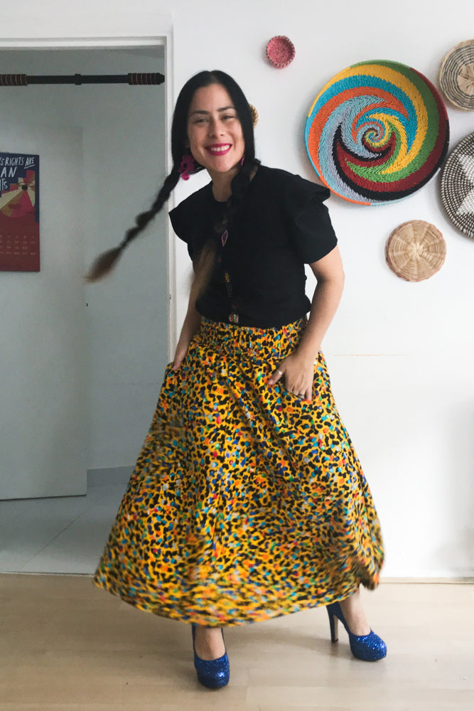 Animal Print Midi Skirt Multi