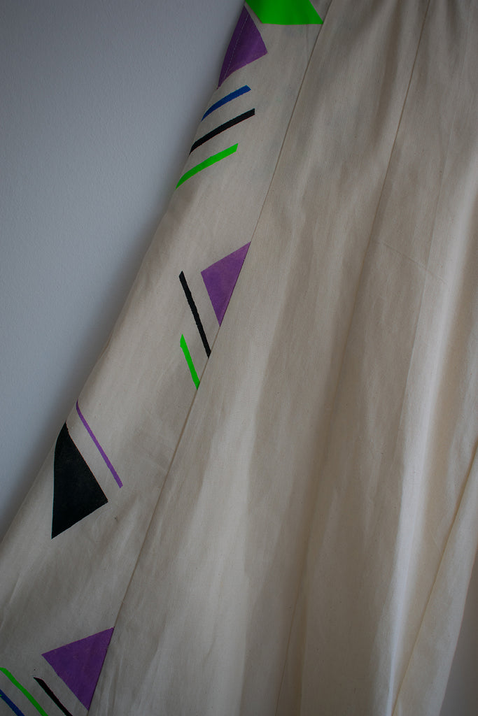 Wide Leg Trousers Geometric Pattern {purple}