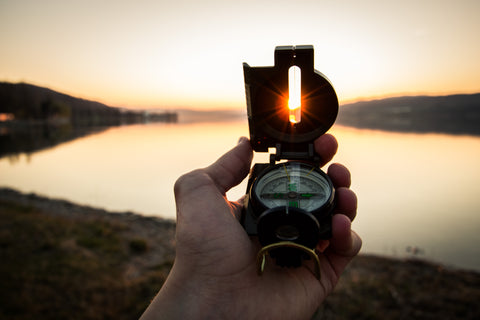 compass at sunset