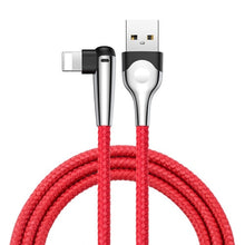 Load image into Gallery viewer, Charging Cable for Travel - 2 meter  ~6 foot iPhone (6,7,8, X) 90 degree turn on head