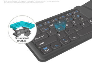 Ergonomic, Slim, Rechargeable, Fold-able Universal Bluetooth Keyboard