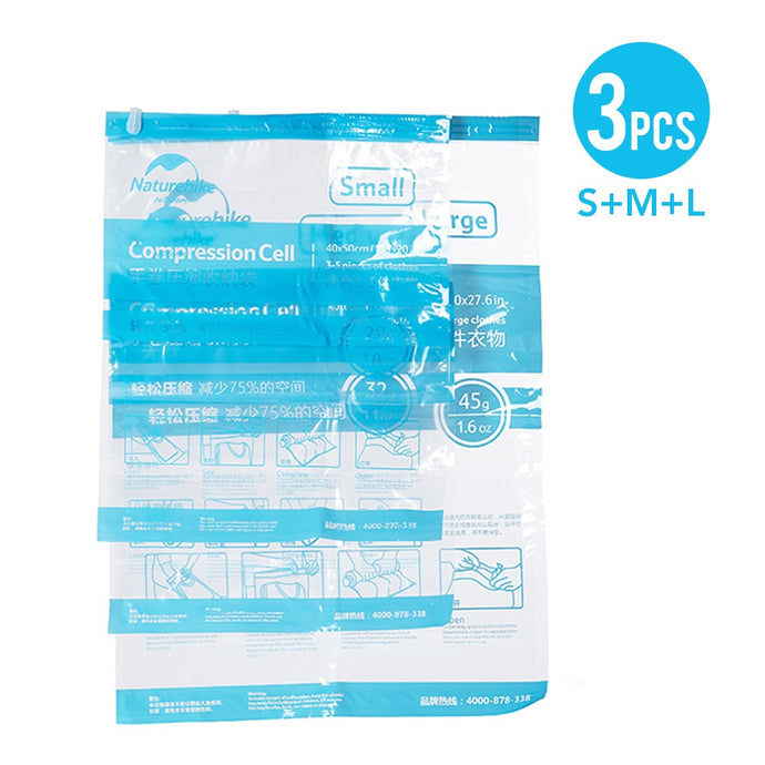 Set of 3 Vacuum One-Way-Valve Compression Bags